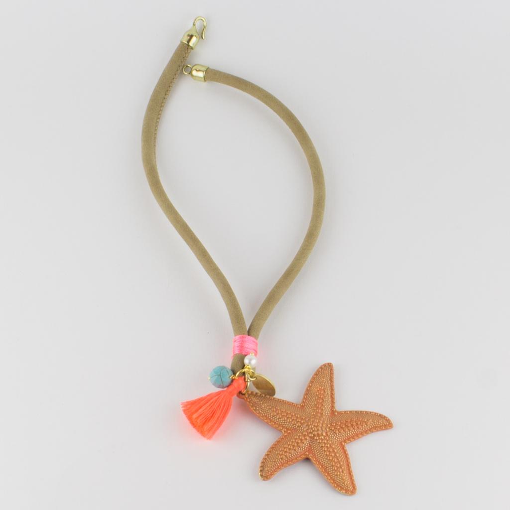 Collar cuero y estrella de mar vicky and chic - Collares de cuero ...