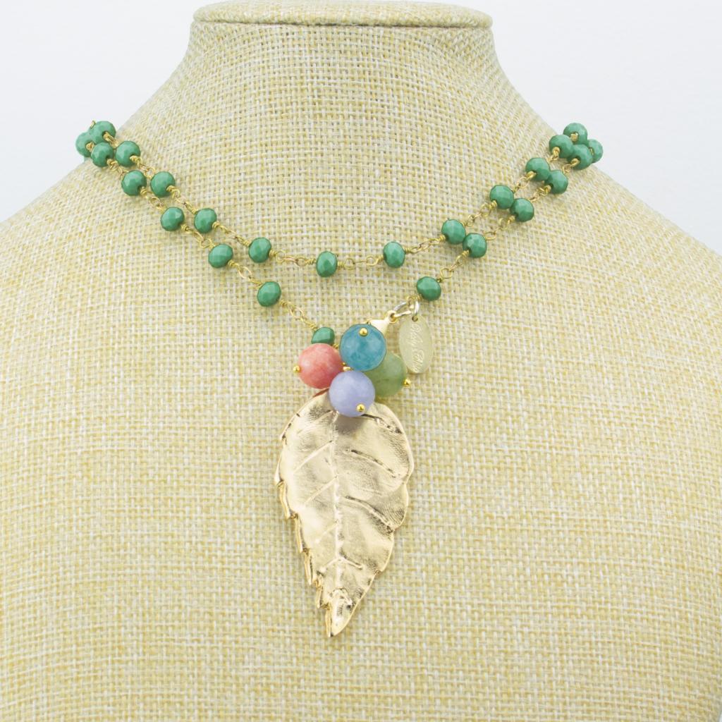 830a3db957c4 Collar Hoja Piedras Minerales y Cristales